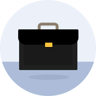 Black briefcase icon
