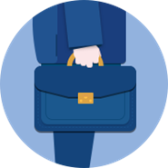 Business man with suitcase icon