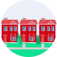 3 Red houses graphic