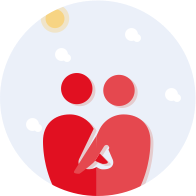 couple hugging joint account red icon