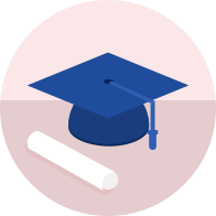 University cap and diploma icon