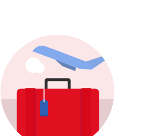 red suitcase with plane in background icon